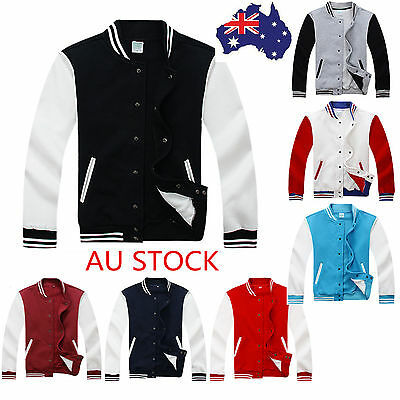 Men Premium Varsity Baseball Jacket College Style Casual Sweater Coat Sportwear