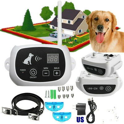 Waterproof Pet Electronic Wireless Control Shock Training 2 Dogs Fence System US