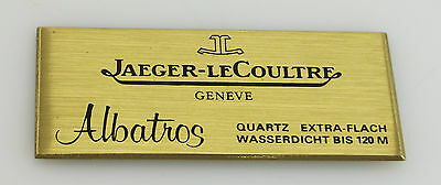 Original JLC Jaeger Le Coultre Uhren Albatros Schild Display Messing 4x9cm sg044