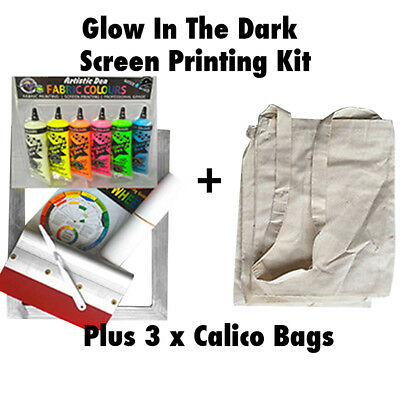 Glow In The Dark Screen Printing Kit Screen Printing Ink Set Calico Bags  & More