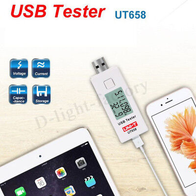 UNIT UT658 Digital LCD Display USB Tester Charger Current Voltage Capacity Power