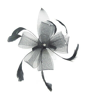 Black Mesh Fascinator mounted on a comb with crystal gems and black feathers