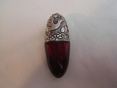 Sampson Mordan Solid Silver and Ruby Red Glass Bullet Shaped Scent Bottle