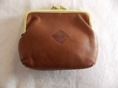 Vintage Leather Princess Gardner Coin Purse Double Clip 2 Compartments Brn #4040