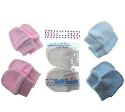 Baby 2 Pair Pack Anti Scratch Mitts /Mittens Newborn Soft Cotton White Pink Blue