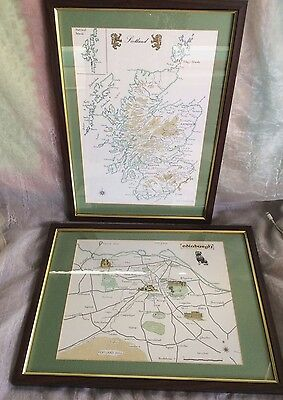 2 FRAMED LITHO PRINT MAPS of SCOTLAND & EDINBURGH by ALBA CARTOGRAPHICS SCOTLAND