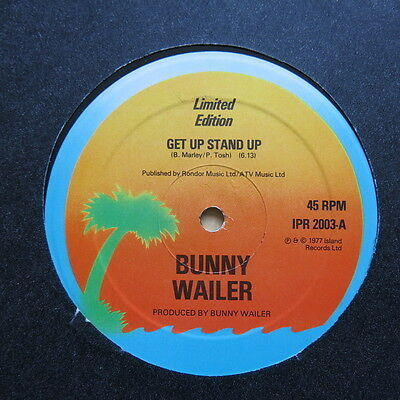 "BUNNY WAILER Get Up Stand Up / This Train UK 12"" single Island IPR 2003 1977 Ex"