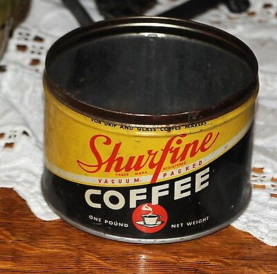 Vintage SHURFINE COFFEE CAN 1 lb. Very Old NROG National Retailer Owned Grocers