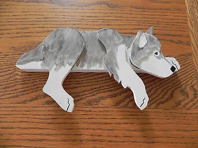 Siberian Husky, gray and white. Wooden, home décor.