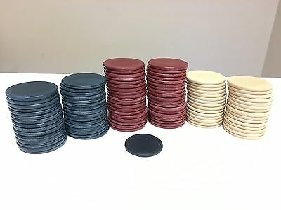 Vintage Clay Poker Chips Red White Blue 100 set with dealer marker