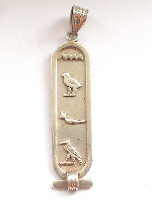 Solid Ornate 925 Fine Sterling Egyptian Hieroglyphs Pendant Pharaoh Necklace