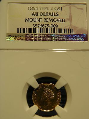 1854 G$1 Type 2 Gold Dollar AU Details NGC - mount removed