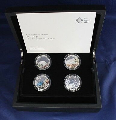 "2016 Silver Proof £5 Crown x 4 set ""Portrait of Britain""  in Case / COA  (Z1/3)"