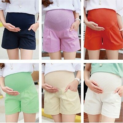 Maternity Shorts Pregnant Women Pants Trousers Casual Cotton Linen Belly Support