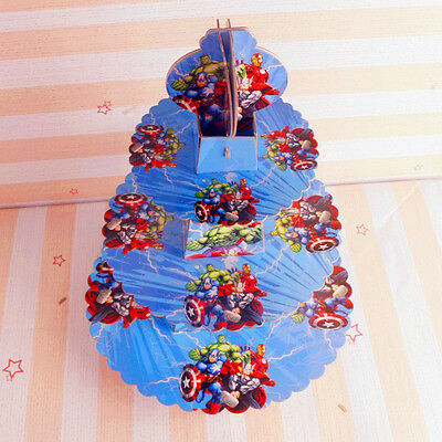 Avengers Cardboard Cupcake Stand Holder 3-Tier Round Tower - Children's Birthday