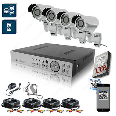 4 Camera HD 1080P 2MP Night Vision Outdoor DVR Home Security CCTV System Kit 1TB