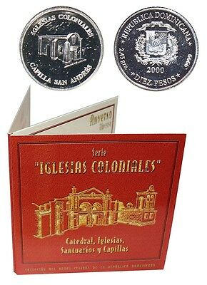 Dominican 10 Pesos,2.45g Silver Coin,2000,KM# 91,Mint,Iglesias,St. Andrews