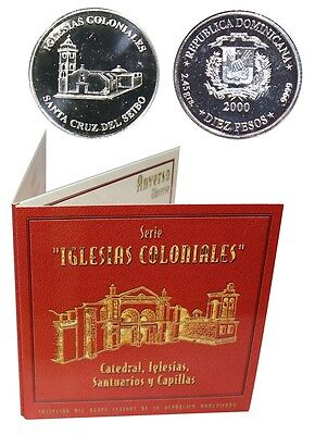 Dominican 10 Pesos,2.45g Silver Coin,2000,KM# 102,Mint,Iglesias,Holy Cross