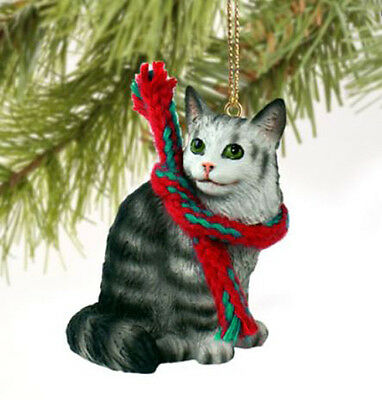 MAINE COON SILVER TABBY CAT CHRISTMAS ORNAMENT HOLIDAY Figurine kitten gift
