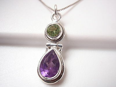 Peridot and Amethyst Faceted Double Gem 925 Sterling Silver Pendant Corona Sun