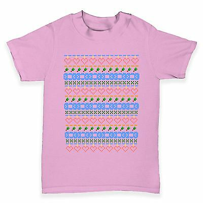 Twisted Envy Pixel Love Christmas Pattern Baby Toddler Funny T-Shirt