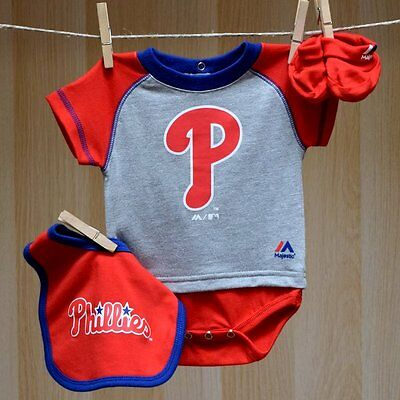 Philadelphia Phillies Baby Infant Creeper Bib Booties (FREE SHIPPING) 3-6 months