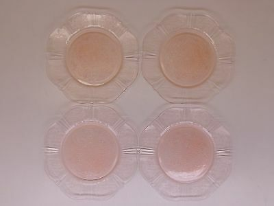 "4 Macbeth Evans AMERICAN SWEETHEART Pink Depression Glass  8"" Salad Lunch Plates"