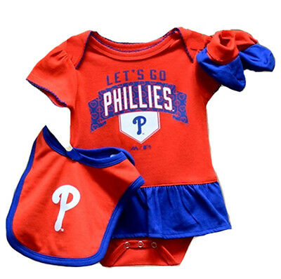 Philadelphia Phillies Baby Infant Girl Creeper Bib Bootie (FREE SHIPPING) 6-9 mo