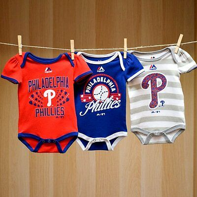 Philadelphia Phillies Baby Infant Girl 3 Pack Onesies (FREE SHIPPING) 0-3 months