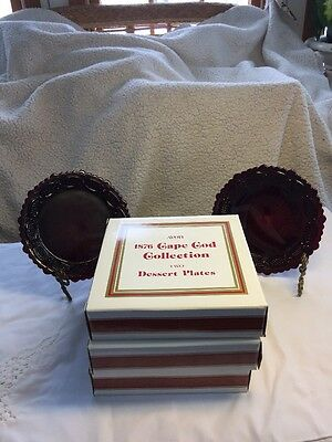 "8 Avon Cape Cod Ruby Red Desert Plates 7 1/2"" In Boxes"