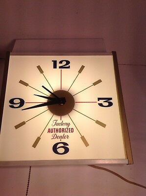 Vintage Lighted Advertizing Clock Factory Authorized Dealer