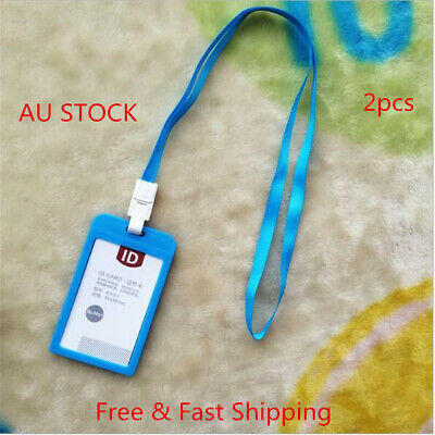 2 x Plastic Business ID Badge Card Vertical Holder with Neck Strap Lanyard Blue