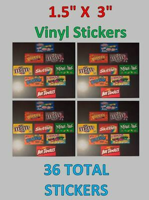 36 VENDSTAR 3000 VENDING MACHINE CANDY STICKERS LABEL  Free Shipping