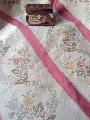 Vintage Antique Silk Bedspread French Lisere Striped Brocade Queen Size Florals