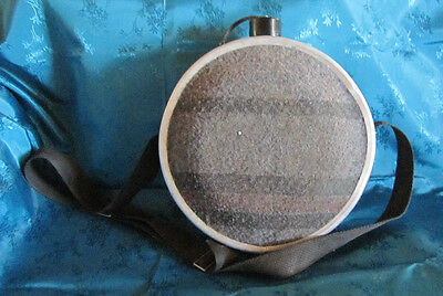 """Vintage Metal Canteen With Flannel Sides, 9-3/4"""" Round"""