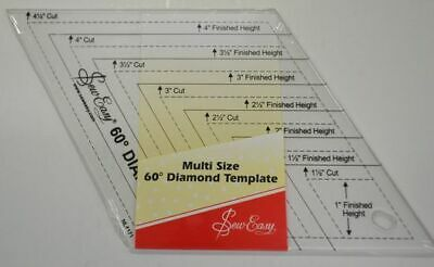 "Quilt Diamond Ruler, 60 Degree Diamond Template, 1 1/2"" to 4 1/2"" Free Post Aust"
