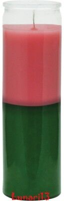 Pink & Green, 2 Color, 7 Day Candle, Plain Glass, Lunari13, Wicca, Santeria