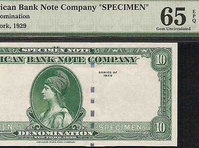 Unc 1929 $10 American Bank Note Specimen Currency Paper Money Pmg Gem 65 Epq