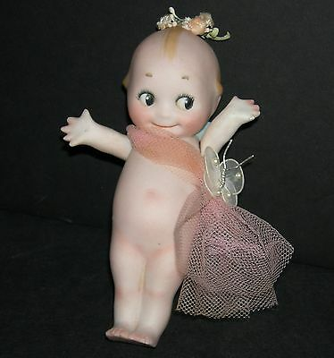 """Kewpie - 6"""" Bisque - Pink Net & Flowers & Butterfly - Bridesmaid -Marked O'neill"""