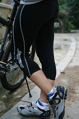 LADIES 3/4 CYCLE TIGHTS SHORTS NEW PADDED coolmax LIGHTWEIGHT WICKING MED L XL