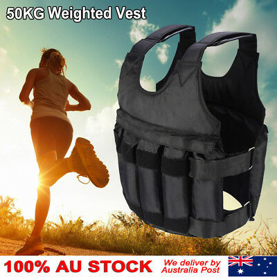 50KG Weighted Vest Adjustable Weight MMA Gym Crossfit Training Sports Outdoor AZ