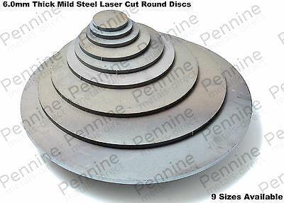 6.0mm Mild Steel Laser Cut ROUND DISCS - 9 Different Sizes Available