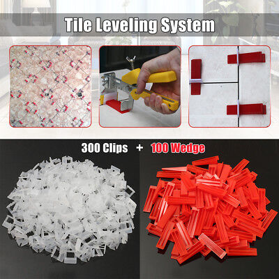 400Tile Leveling System Kit 300 Clips With100 Wedges Plastic Spacers Tiling Tool