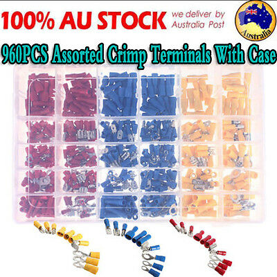 960X Assorted Insulated Electrical Wire Terminal Crimp Spade Connector Kit Case