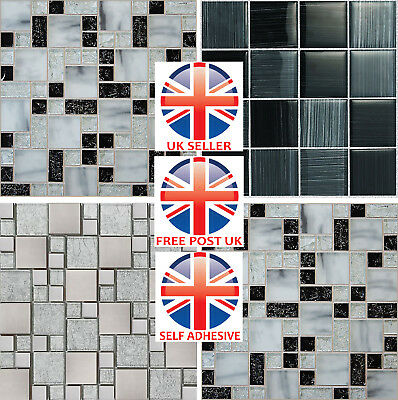 4 inch Black Grey Tile Stickers - Kitchen Bathroom Glass Marble Effect  - JTP71