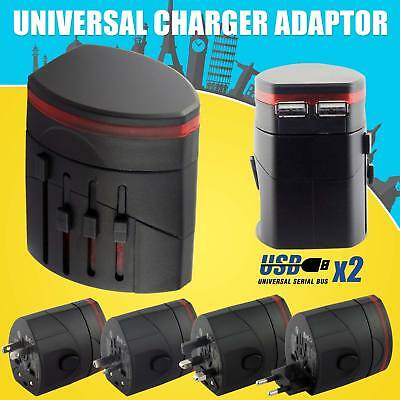 Universal International World Wide Travel Plug Multi Charger Adapter 2 USB PORT