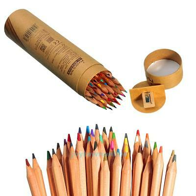 36x Colored Pencils Set Marco Fine Art For Sketch Drawing Coloring+Box+Sharpener