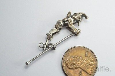 LOVELY ANTIQUE STERLING SILVER ARTICULATED ACROBAT JESTER CHARM c1900