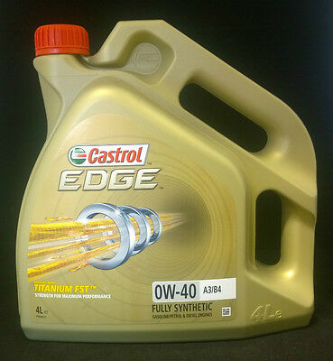 Castrol Edge 0W40 A3 B4 With Titanium FST Fully Synthetic Engine Oil 4L 4 Litres