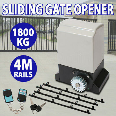 Sliding Gate Opener 1800KG Pro Automatic Remote Kit Electric Fence Heavy Duty 4m